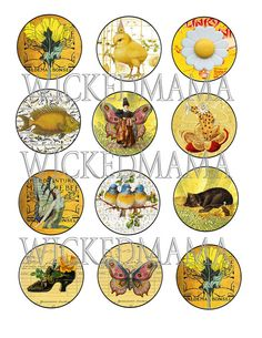 Silly Summer Digital Collage Sheet 2 inch for by wickedmama, $2.50