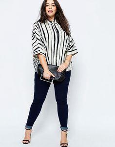 Image 4 ofASOS CURVE Oversized Shirt In Painted Stripe