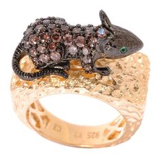 Sterling Silver Simulated Brown and Green Cubic Zirconia Mouse Ring | Overstock.com Shopping - The Best Deals on Gemstone Rings