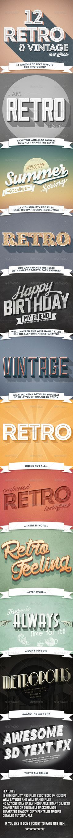 12 Various 3D Retro & Vintage Text Effects Pack