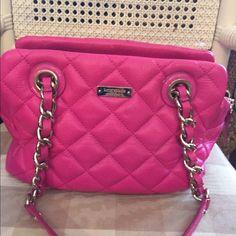 Kate spade handbag Kate spade pink quilted handbag , some stains inside bag. Outside like new kate spade Bags Satchels