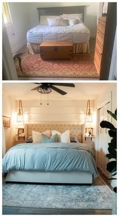Parents Master Bedroom Makeover- Horizontal Board and Batten | Nesting With Grace | We brought new life to this bedroom with DIY board and batten wall, new blue and white bedding, and beautiful coastal lanterns as a unique bedside lighting. #coastalhome #masterbedroom Coastal Master Bedroom, Master Bedroom Makeover, Budget Bedroom, Home Bedroom, Bedroom Decor, Bedroom Ideas, Master Bedrooms, Bedroom Inspiration, Blue And White Bedding
