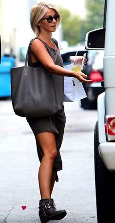 Daytime street style. Charcoal grey asymmetrical tunic and black biker booties with fringe.