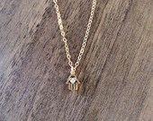 Dainty gold hamsa cz pendant, protection charm available at https://www.etsy.com/shop/JEMINIshop