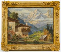 Lot 746: Unknown Artist (20th Century) Oil on Board; Undated, signed lower left, depicting a house with mountains in the background