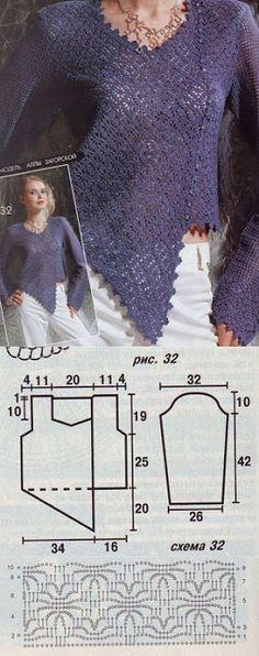 Letras e Artes da Lalá: Blusas de crochê com receitas. Fotos: google.