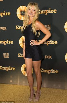 Blonde ambition: Kaitlin Doubleday - who plays Rhonda Lyon - paraded her mile-long pins in...
