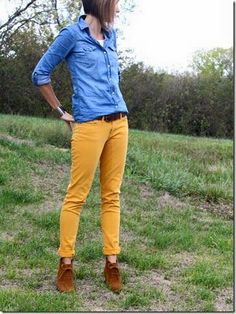 Try a mustard pant with chambray for a stylish & casual  fall look.