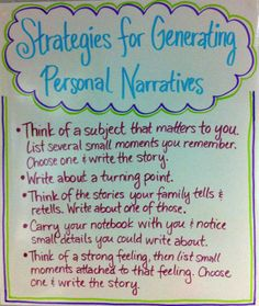 A Literate Life - Anchor Charts Personal narrative