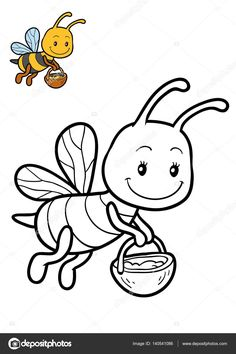 Zoo Animal Coloring Pages, Bee Coloring Pages, Pokemon Coloring Pages, Cartoon Coloring Pages, Coloring Books, Art Drawings For Kids, Outline Drawings, Drawing For Kids, Easy Drawings