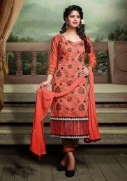 Fashionable Orange Color Unstitched Salwar Suit With Awesome Embroidery Work