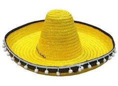 2 Yellow Sombrero Hat w Tassels Dress Up Fiesta Party Hats Costume Mexican Cap | eBay