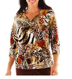 Alfred Dunner top Bryce Canyon Tribal Patchwork 3/4 sleeves women's size PS NEW 16.99 http://www.ebay.com/itm/-/231534110801?