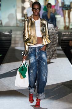 Spring 2015 Ready-to-Wear - Dsquared²     LLee> Try the wonderful bronze metallic denim....but make sure the peplum covers my less than pancake stomach...and I don't want such a flare to the peplum.