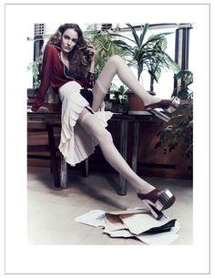Zuzanna Bijoch Plays Sexy Secretary in Catherine Servels 25 Magazine Shoot | Makeup by Lisa Houghton