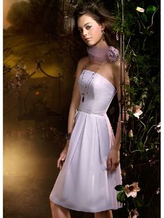 A-line Pure White Simple Flat Knee Length Sexy Bridesmaid Dress
