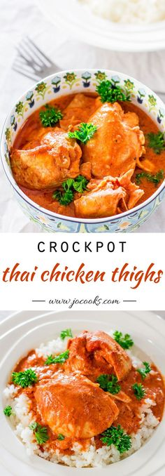 Crockpot Thai Chicken Thighs – delicious chicken thighs in a creamy, silky and smooth Thai flavored sauce, slowly cooked to perfection.