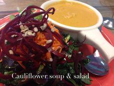 """Chedda Cauliflower Soup and a Kale Salad"" ---Pomegranate Cafe (Phoenix, AZ)"