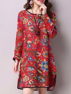 Vintage Floral Printed O-Neck Long Sleeve Split Midi Dress For Women