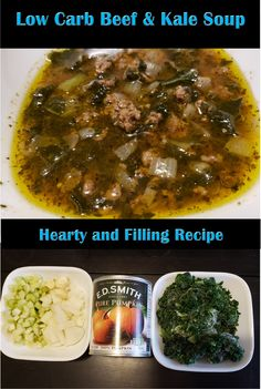 Low Carb Beef and Kale Soup - YUM! It is hearty and filling! It is great leftover and perfect for meal prep. Low Carb Recipes, Beef Recipes, Soup Recipes, Healthy Recipes, Kale Soup, Dinner Salads, Pumpkin Puree, Health And Nutrition, Food Porn