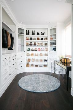 Dream Closet, white closet, built-in closet, hardwood floors, walk in closet, closet ideas, closet inspiration