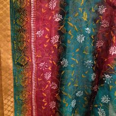 Tussar shaded Dupatta with Kantha stitch hand embroidery and Brocade border. For orders and inquiries, please mail us at naari@aninditacreations.com.  Like our page at www.facebook.com/naari.aninditacreations