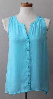 Hand selected for Warm Spring by expert PCA! $16 preowned INC turquoise blue sleeveless tank top. contrast knit, buttons,. True Spring, Absolute Spring, Golden Spring, Floral Spring seasonal tone #warmspring #seasonaltone #coloranalysis #warmspringclothing #warmspringclothes #INC