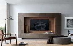 Jesse Open Wall Unit 14 - what a combination of uses!With a hidden TV cable port, all sorts of everything can be tidied away. Wall Unit Designs, Tv Wall Design, House Design, Modern Tv Wall Units, Modern Tv Room, Modern Living, Muebles Living, Tv Wall Decor, Open Wall