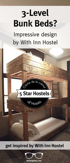 Have you ever slept in a 3-level bunk bed? The With Inn Hostel in Kaohsiung, Taiwan created they very own bunk bed style plus more cool design details. For more inspirational interior design, check out http://hostelgeeks.com/with-inn-hostel-kaohsiung-5starhostel/
