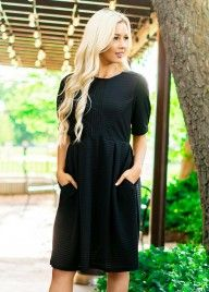 2c96f7fd1a0 Black Rose Modest Dress with Pockets