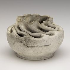 GEORGE OHR; White clay squat vessel with ruffled rim