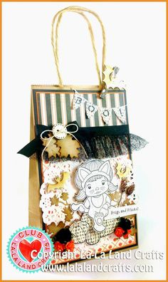 Treat Bag by Irina Blount featuring the Club La-La Land Crafts (September) exclusive Sitting Cat Marci Rubber Stamp (includes 4 Sentiments), Haystack and Pumpkins Rubber Stamp and these Dies -Boo! Banner, Broken Fence and Fall Leaves Die Set :-)  Club La-La Land Crafts subscription details are here - http://lalalandcrafts.com/Club_La-La_Land_Crafts.html   More Design Team inspiration here - lalalandcrafts.blogspot.ie/2014/09/club-la-la-land-crafts-september-2014.html