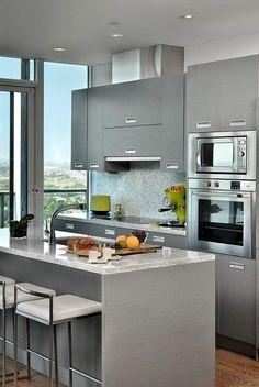 couleur de cuisine moderne et nuances en gris