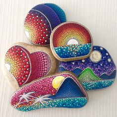 Very cool painted rock scenes! Sunset on painted rocks. Tropical and mountains.