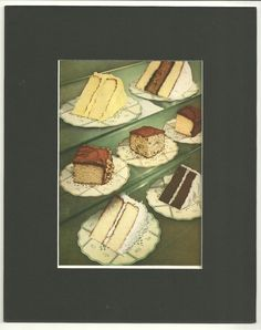 Set of Three Vintage Cookbook Page Illustrations Cake Swans Down Calumet in Greens Reds  8 x 10 Black Mats With Chip Board Back