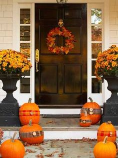 90 Fall Porch Decorating Ideas | Shelterness - latch and door knocker