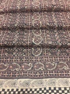 Designer & Exclusive Lucknow Chikan Black Cotton Suit Length with very fine chikankari murri, shadow & patti work with designer daaman, contrast beige bottom & pure chiffon dupatta #chikansuit $72.99