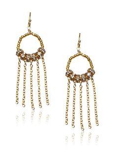 Diane Yang Gold Fringe Earrings 104/36/32/20
