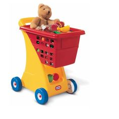 A toy shopping cart is a must-have for every bedroom or playroom! Our durable and timeless shopping cart promotes imagination and role play. A generously sized basket and easy rolling wheels keep the emphasis on constructive play. A great toy to use with our play kitchens and playhouses.