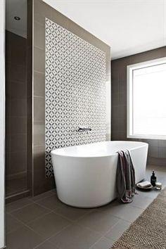 Aspire Home. Ensuite with walk through shower, freestanding bath and stone mosaic. - Amazing Homes Interior Bathroom Renos, Bathroom Interior, Modern Bathroom, Master Bathroom, Bathroom Bath, Bath Room, Small Bathrooms, Bath Tub, Bathroom Feature Wall Tile