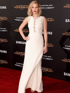 Actress Jennifer Lawrence strikes a pose in a Dior gown at the premiere of Los Angeles premiere of 'The Hunger Games: Mockingjay - Part 2' on November 16, 2015.  Jason Merritt, Getty Images