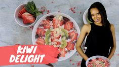 Try Keesha's Kiwi Breakfast with Strawberries, Almonds and Dry Cherries! This is a quick and simple tropical temptation you should not miss! Dried Cherries, Almonds, Kiwi, Strawberries, Food Videos, Cereal, Tropical, Simple, Breakfast