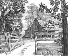 Cabin in the Woods Pencil Sketch  Craig Cassell, a quadriplegic artist, creates his detailed sketches using a pencil inserted into a custom made mouthpiece.