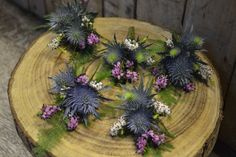 Rustic Scottish buttonholes - Blue Eryngium, Heather and Green Bell Thlaspi
