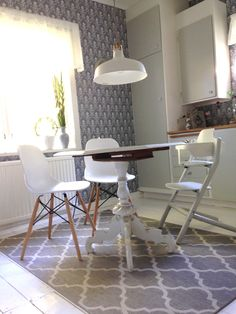 Kitchen interior Wallpapers from' Duro Gammelsvenska Hudiksvalls teater' Chairs, Furniturebox  Table antique Lamp IKEA  The kitchencabinets is repainted original 1940s cabinets.  The floor is a whitepainted pinefloor