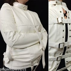 White or Black Asylum Patient Straight Jacket Halloween Costume Unisex S/M L/XL in Clothing, Shoes & Accessories,Costumes, Reenactment, Theater,Costumes | eBay