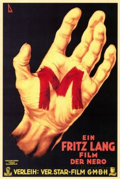 'M, Il Mostro di Dusseldorf', directed by Fritz Lang. The German release poster for Fritz Lang's first sound film. Horror Movie Posters, Classic Movie Posters, Cinema Posters, Horror Films, Classic Films, Poster S, Movie Poster Art, Old Movies, Vintage Movies