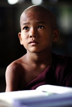 young novice Buddhist monk in Myanmar: