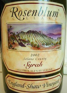 2002 Rosenblum Cellars Solano County England-Shaw Vineyard Syrah