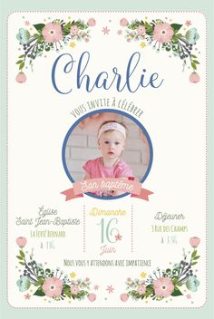 Baptism, invitation cards baptism of your child, baby-country theme and flowers-Photo version available Hello Kitty Invitations, Baptism Invitations, Carton Invitation, Invitation Cards, Invitaciones Baby Shower Niña, Baby Frame, Baby Art, Mermaid Birthday, Invitation Design
